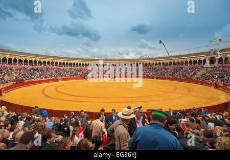 SEVILLE, SPAIN - April, 28: Corrida at Maestranza bullring on April, 28, 2012 in Seville, Spain - Stock Photo
