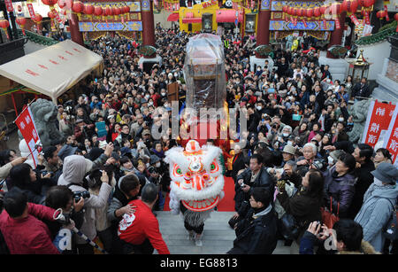 Yokohama, Japan. 19th Feb, 2015. A lion dance is performed to celebrate the Chinese lunar new year at Yokohama China - Stock Photo