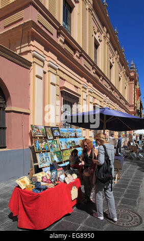 Spain, Andalusia, Seville, Plaza del Museo, crafts market, people, - Stock Photo