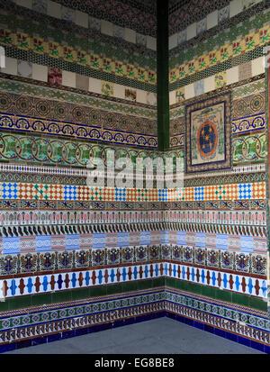 Spain, Andalusia, Seville, La Cartuja, ceramic tiles, wall decoration, - Stock Photo