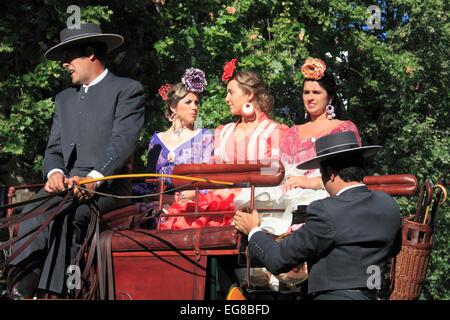 Spain, Andalusia, Seville, Fair, Feria de abril, people, festival, traditional dress, - Stock Photo
