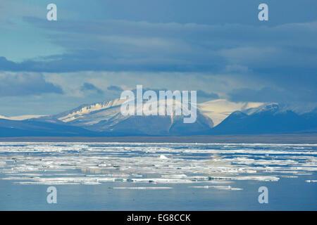 Baffin Island, Nunavut, Canada, showing sea ice, August - Stock Photo