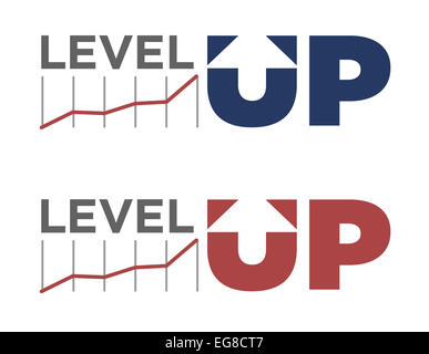 Vector illustration of level up text in different colors - Stock Photo