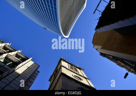 Looking Up on Fenchurch Street, City of London - featuring Wren's St Margaret Pattens Church and the Walkie Talkie - Stock Photo