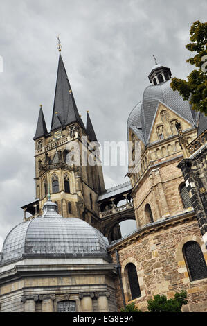 Aachen Cathedral - Tower of the Aachener Dom also known as Imperial Cathedral or Royal Church of St  Mary at Aachen, - Stock Photo