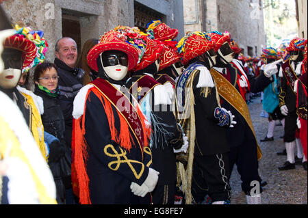 Italy, Lombardy, Bagolino, Carnival of Bagolino. The masks dating back to the sixteenth century dance on the streets - Stock Photo