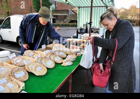meat pies for sale at a local farmers market - Stock Photo