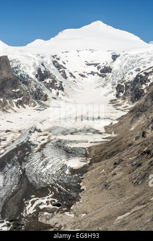The Pasterze, the longest glacier of Austria at the Grossglockner group mountains - Stock Photo