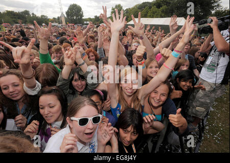The Kids Getting Down to Hadouken! at The Underage Festival Victoria Park east London. - Stock Photo
