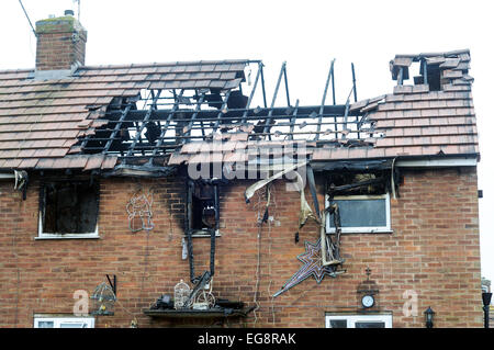 House Damaged By Fire . - Stock Photo