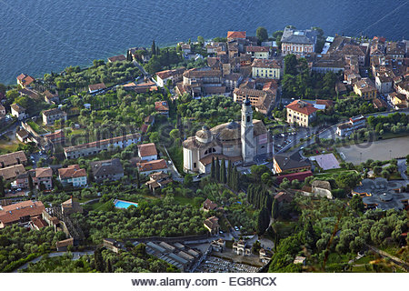 Aerial view over the village Gargnano and the San Martino church on the western shore of Lake Garda, Brescia, Lombardy, - Stock Photo