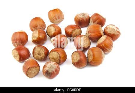 Handful of hazelnuts on white background - Stock Photo