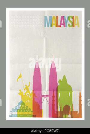 Travel Malaysia famous landmarks skyline on vintage paper sheet poster design background. Vector organized in layers - Stock Photo