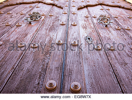Old colonial vintage main door of the San Juan Bautista or Saint John the Baptist church in Remedios which is a - Stock Photo