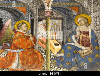 The Annuntiation, beautiful freco in San Blas chapel in the cathedral of Toledo. Castilla-La Mancha Spain. - Stock Photo