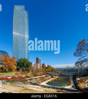 Downtown and the Devon Tower from the Myriad Botanical Gardens with the Crystal Bridge on right, Oklahoma City, - Stock Photo