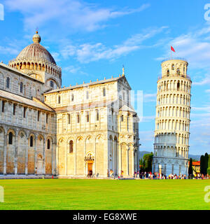 Piazza dei Miracoli in Pisa with the Basilica and the Leaning tower, Italy - Stock Photo