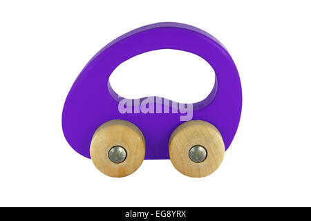purple wooden car toy isolated on white background - Stock Photo