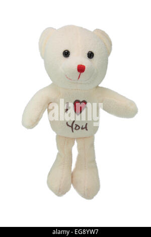Lovely teddy bear isolated on white background - Stock Photo