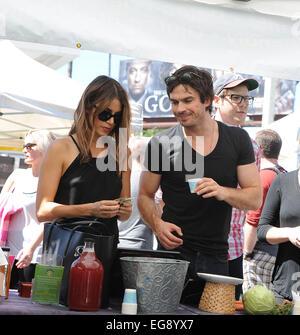 Nikki Reed and Ian Somerhalder sample some probiotics at the ...