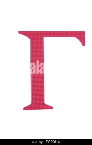 Colorful greek alphabet. Gamma. Red - Stock Photo