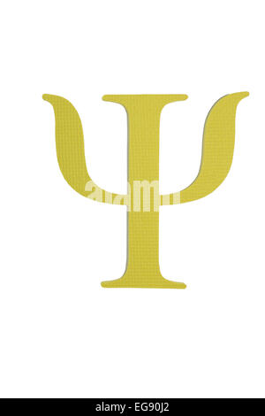 Colorful greek alphabet. Psi. Yellow - Stock Photo