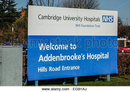 Entrance sign for Addenbrookes Hospital, Cambridge, part of the Cambridge University Hospitals NHS Foundation Trust - Stock Photo