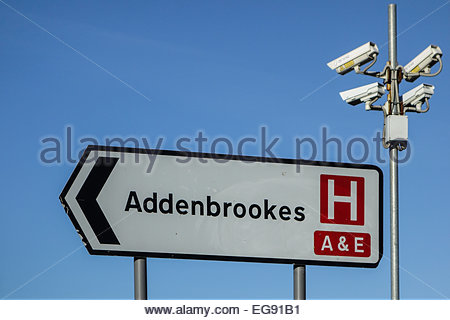 Sign for A & E at Addenbrookes Hospital, Cambridge, England, UK  and ANPR cameras to stop drivers using the hospital - Stock Photo