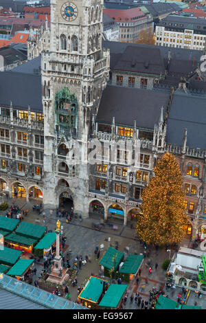 Overview of the Christmas Market in Marienplatz and the New Town Hall, Munich, Germany - Stock Photo