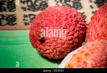Lychee fruit on a plate - Stock Photo