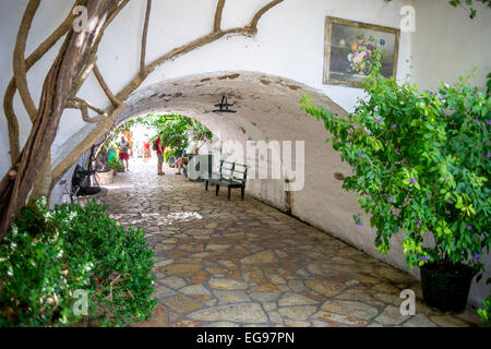 Quiet peaceful old Moni Theotokou Monastry Paleokastritsa Corfu - Stock Photo