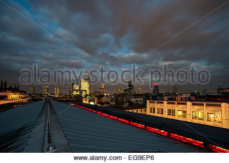 Italy, Lombardy, View of Milan skyline at night - Stock Photo