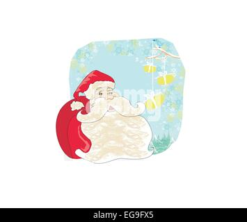 Christmas cards with Santa Claus and birds - Stock Photo