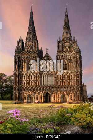 UK, England, Staffordshire, West Front of Lichfield Cathedral - Stock Photo