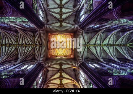Ceiling and ribbed arches of Westminster Abbey. London. UK - Stock Photo