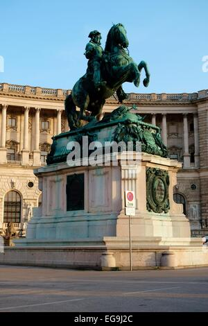 Equestrian statue of Prince Eugene front of the Hofburg Imperial Palace at the Heldenplatz, Innere Stadt district, - Stock Photo