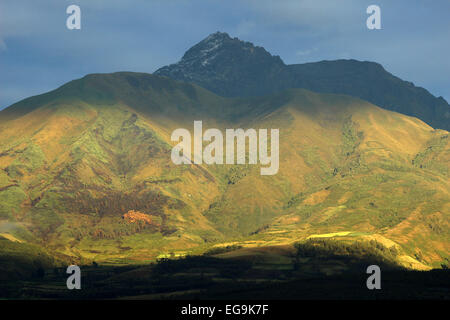 Sunrise over the dormant volcano, Mount Cotacachi, in the Andes Mountains in Northern Ecuador - Stock Photo