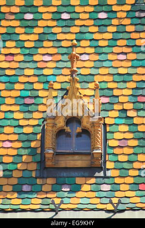 Multicoloured roof in the Main Market Hall of Budapest, Hungary - Stock Photo