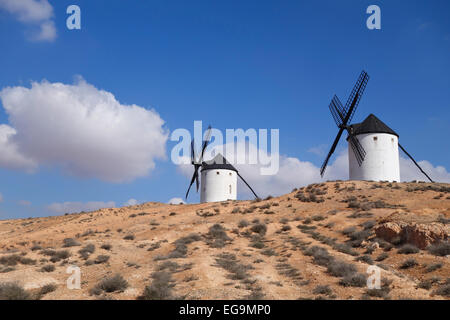 Spanish Windmill near Tembleque in the province of Toledo, Castile-La Mancha, Spain. - Stock Photo