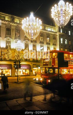 Christmas lights  Regents Street. London. UK, Circa 1980's - Stock Photo