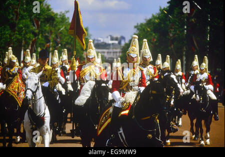 Trooping the Colour. The Household Cavalry Regiment parade down The Mall. London. UK - Stock Photo