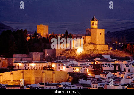 castle and fortress at sunset monumental city of Antequera Malaga andalusia Spain vista del castillo torre del homenaje - Stock Photo