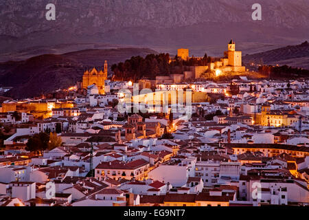 Panoramic sunset monumental city of Antequera Malaga andalusia Spain panoramica al atardecer de la ciudad  monumental - Stock Photo