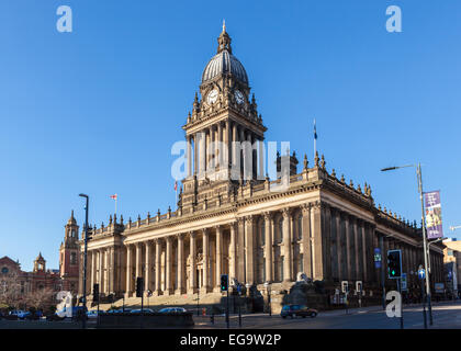 Leeds Town Hall (designed by the local architect Cuthbert Brodrick), Leeds, West Yorkshire, England - Stock Photo