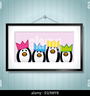 Cute Family Portrait of Penguins Wearing Party Hats in Picture Frame Hanging on Blue Wallpaper Background - Stock Photo