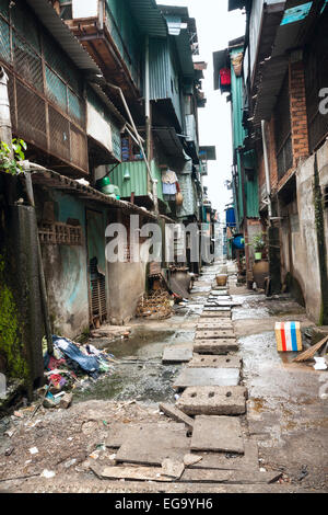Poor Residential area in Ho Chi Minh, Vietnam, Asia. - Stock Photo