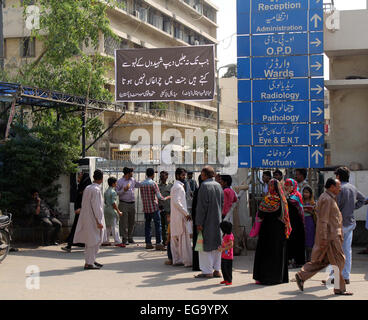 Karachi, Pakistan. 20th Feb, 2015. Main entrance of Abbasi Shaheed Hospital (ASH) is closed making patients perturbed - Stock Photo