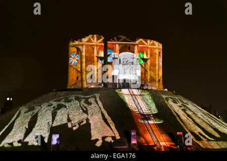 Illuminate York 2013 at Cliffords Tower and The Museum Gardens. - Stock Photo