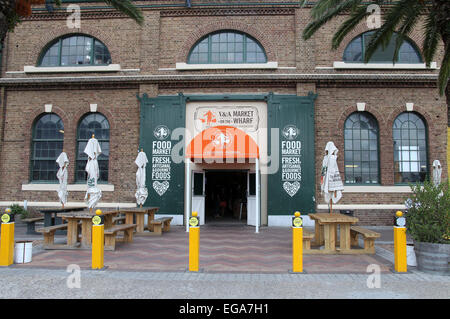 Food Market on the Wharf at the  Victoria and Alfred Waterfront in Cape Town - Stock Photo