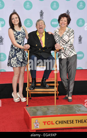 LOS ANGELES, CA - APRIL 12, 2014: Actor Jerry Lewis & daughter Danielle Sarah & wife SanDee Pitnick Lewis (right) - Stock Photo